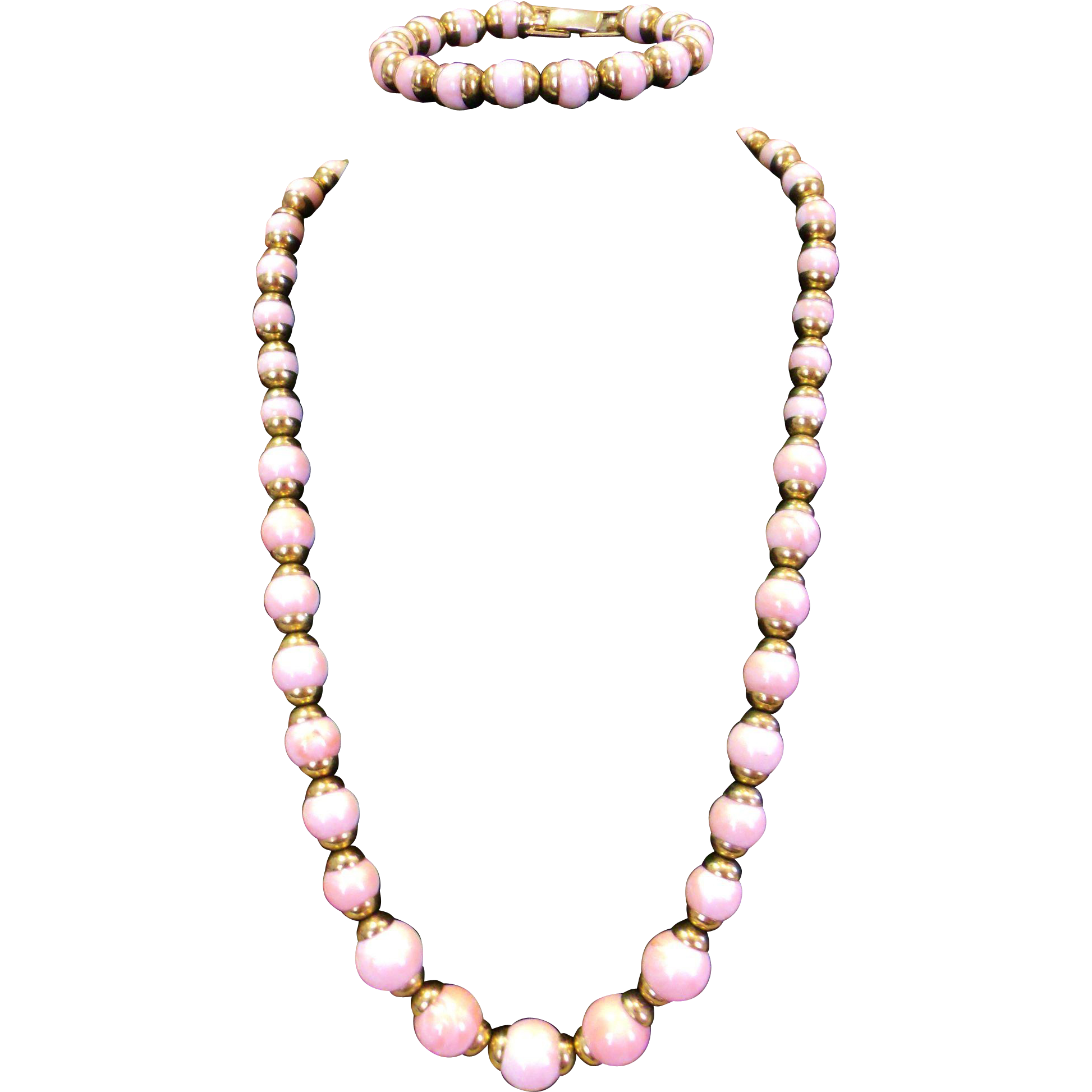 Swirled Pink Lucite Beaded Necklace & Bracelet Set w. Gold tone Caps - Gorgeous