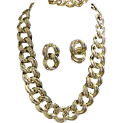 Chunky Double Link Chain Shiny Gold tone Necklace & Earring Set