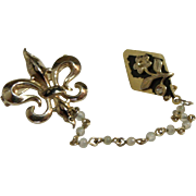 Fleur De Lis & Flower Chatelaine Double Pin Brooch