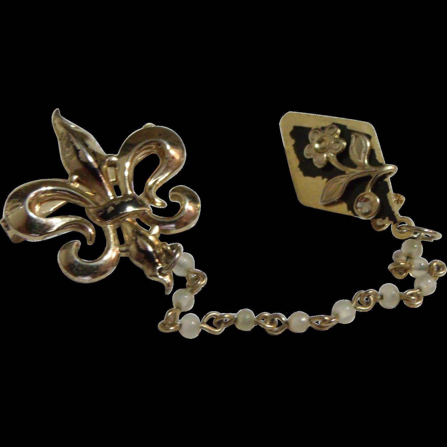 Fleur De Lis & Flower Chatelaine Double Pin Brooch