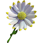 Large & Lovely Enameled Daisy / Flower Pin