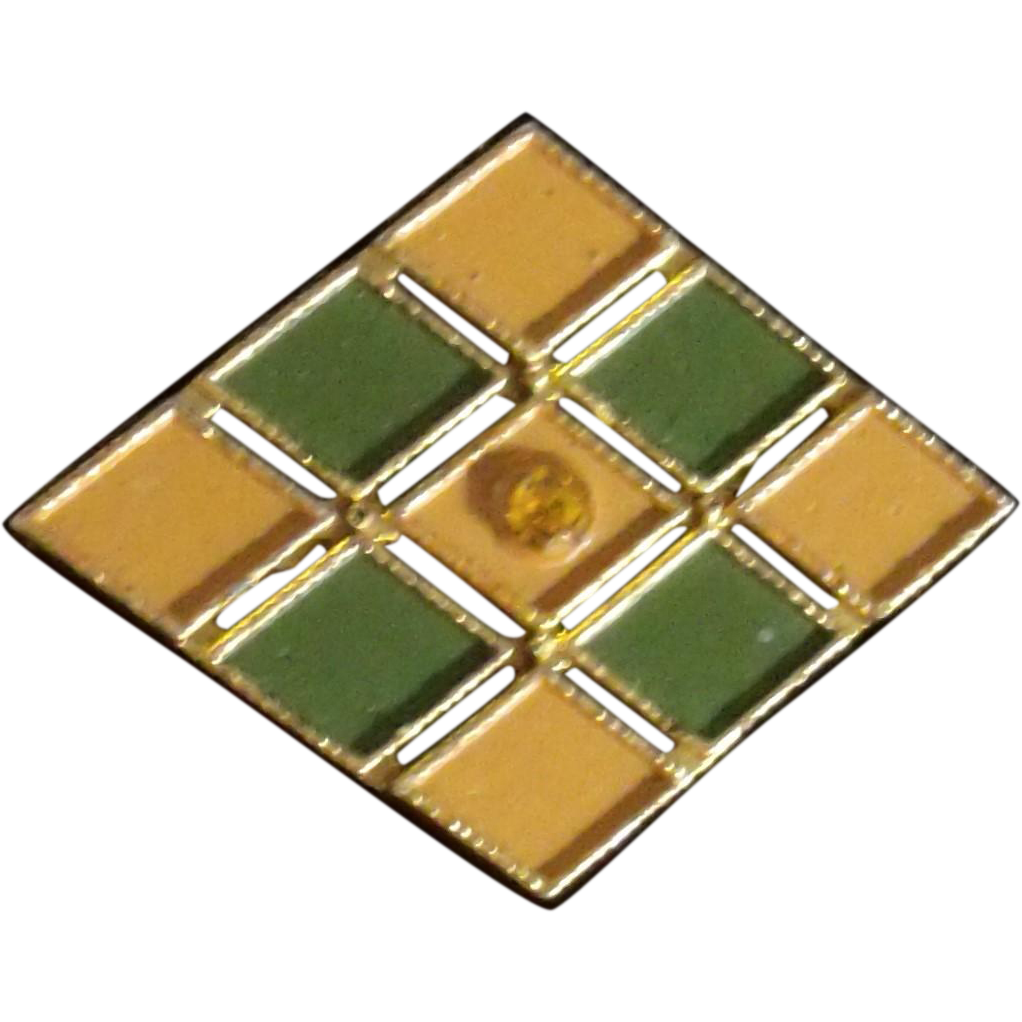 AJC Geometric Gold & Green Enameled & Rhinestone pin