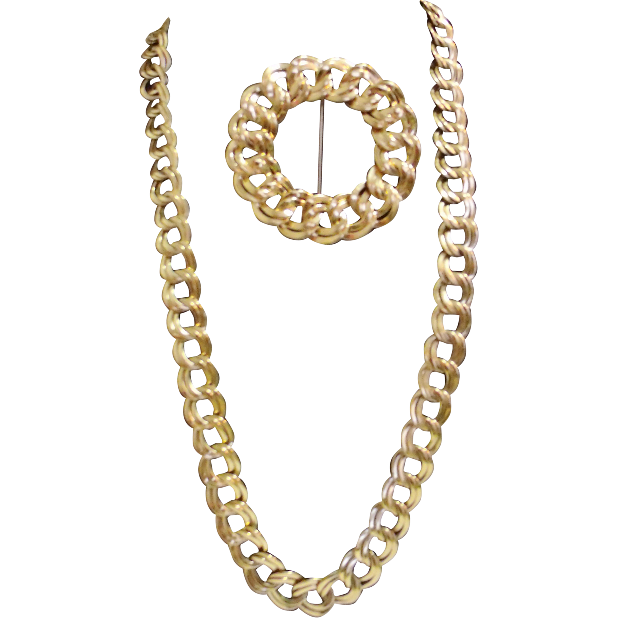 Monet Double Link Chain Necklace & Brooch Gold Tone