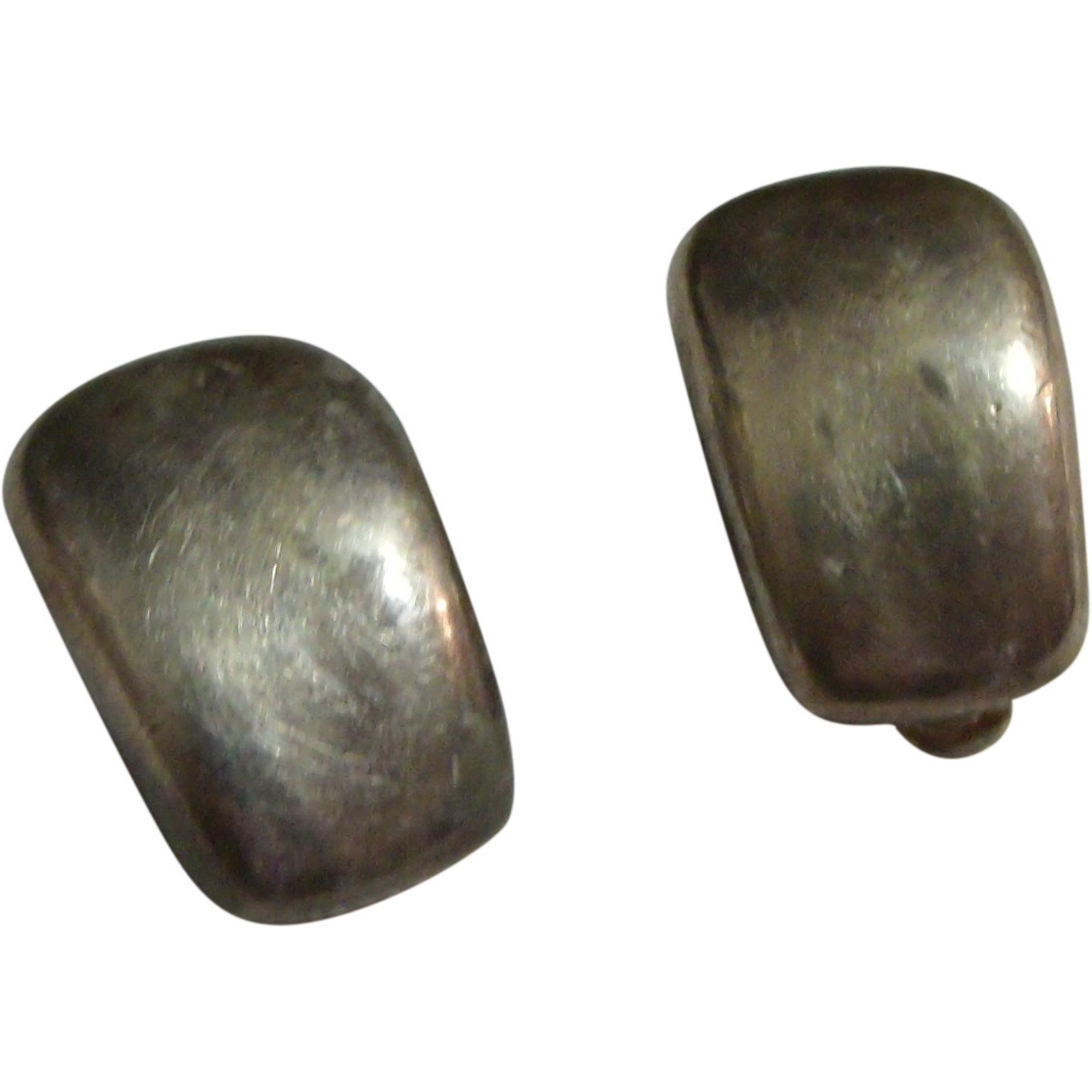 Early Silver Plated Clip Earrings signed Norma Jean