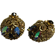 Fancy & Ornate Gold tone Filigree & Black Rhinestone Earrings West Germany