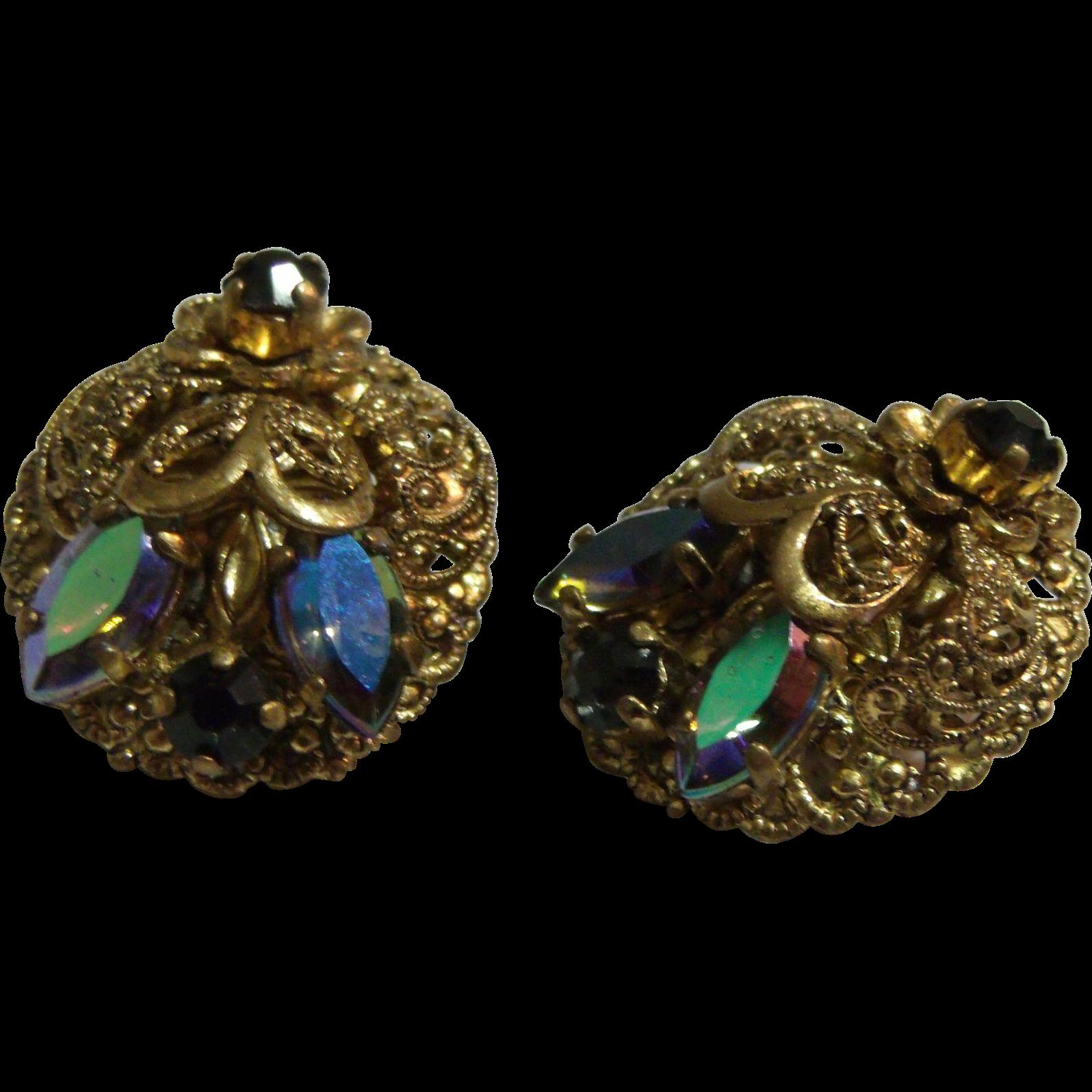 Fancy & Ornate Gold tone Filigree & Black Rhinestone Earrings West Germany