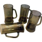 Set Of 4 Smoke Glass Mugs Beer Steins Mid-Century