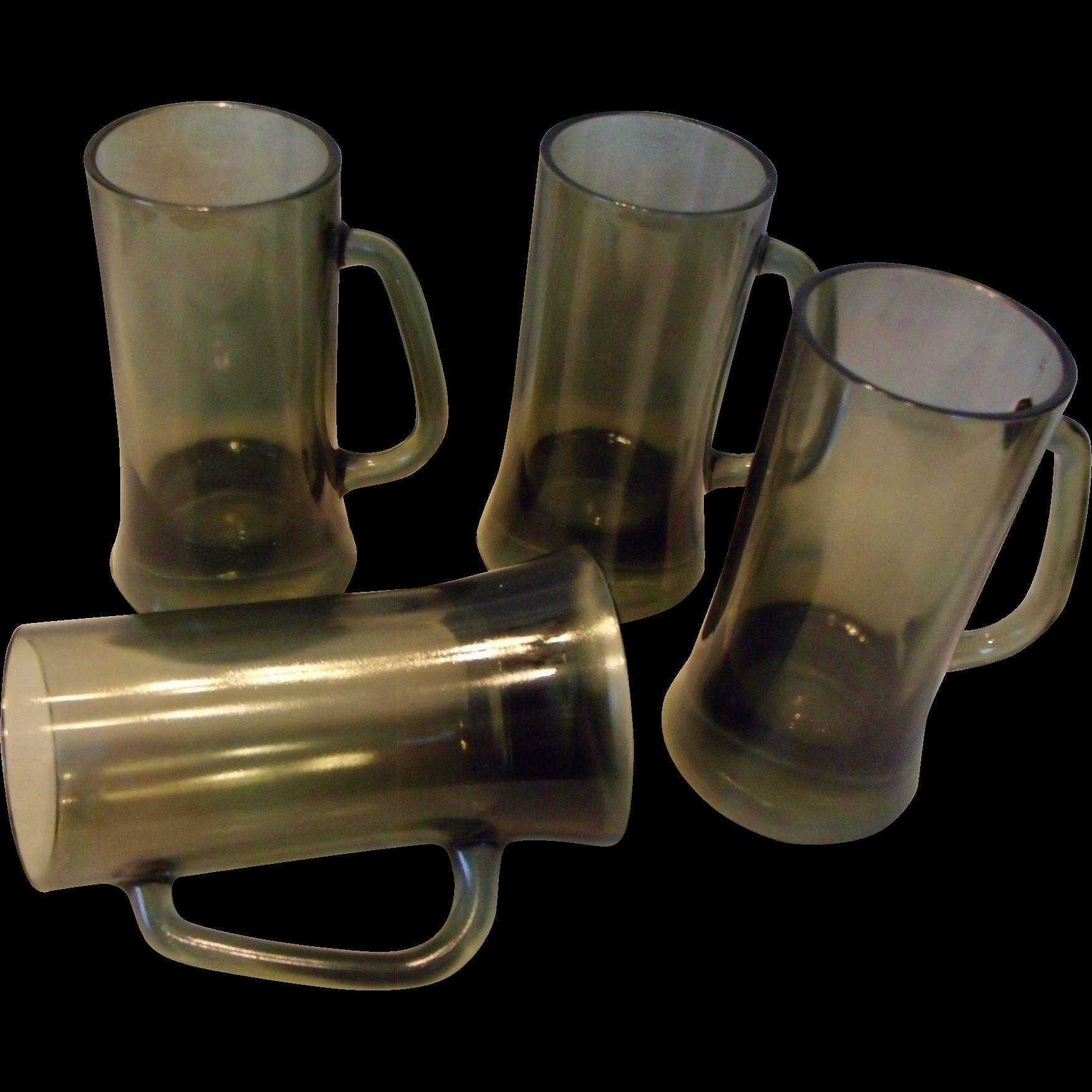 Set Of 4 Smoke Glass Mugs Beer Steins Mid-Century