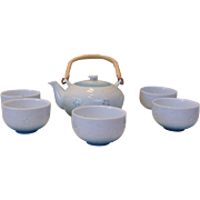 Blue & White Rice Grain Pattern Asian Tea Set