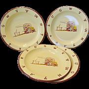 "Vintage Set Of 4 Monterrey Western Ware Enamelware 10"" Plates"