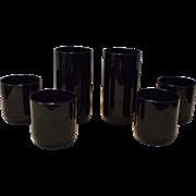 6 Vintage Libbey Black Amethyst Tumblers Metropolitan