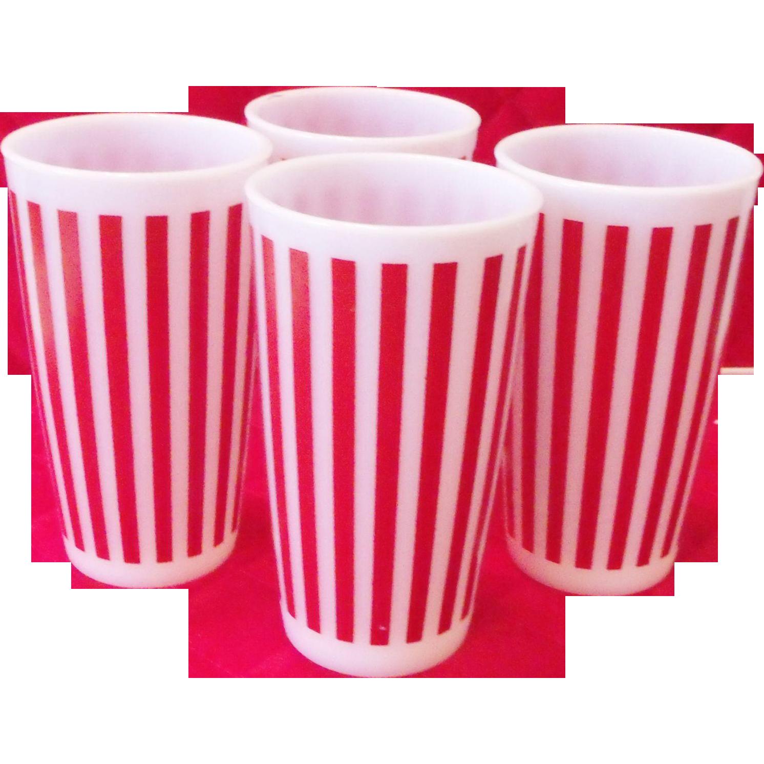 4 Vintage Red & White Candy Stripe Milk Glass Tumbler Retro Hazel AtlasGlasses