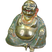 Vintage Happy Lucky Buddha Sitting Enameled Brass Sculpture