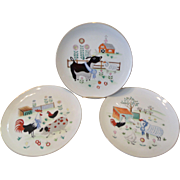 3 Vintage Blue Ribbon Barnyard Farm Animal Scenes Plates Enesco