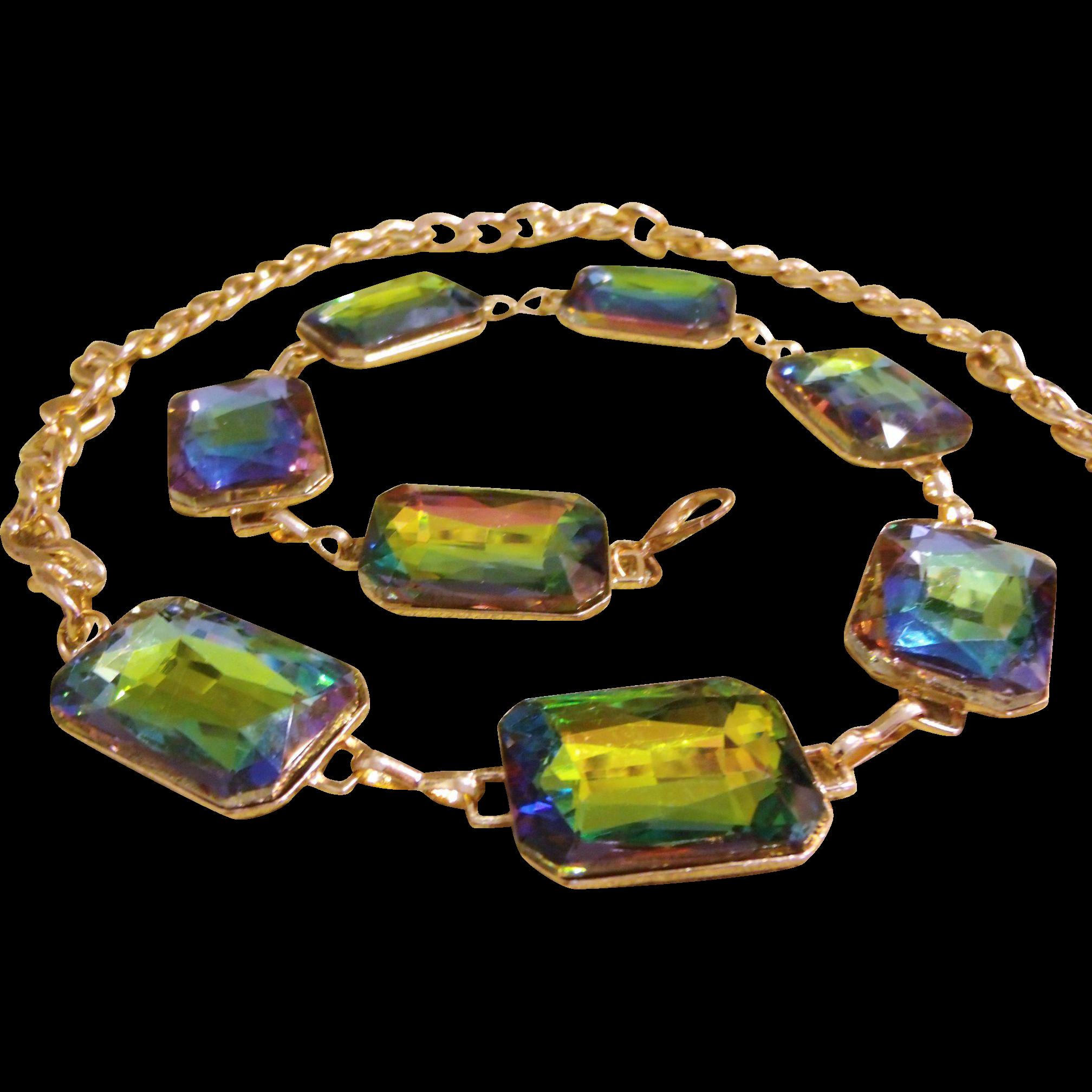 Gold Tone Chain Belt w/ Huge Rainbow Glass Rhinestones