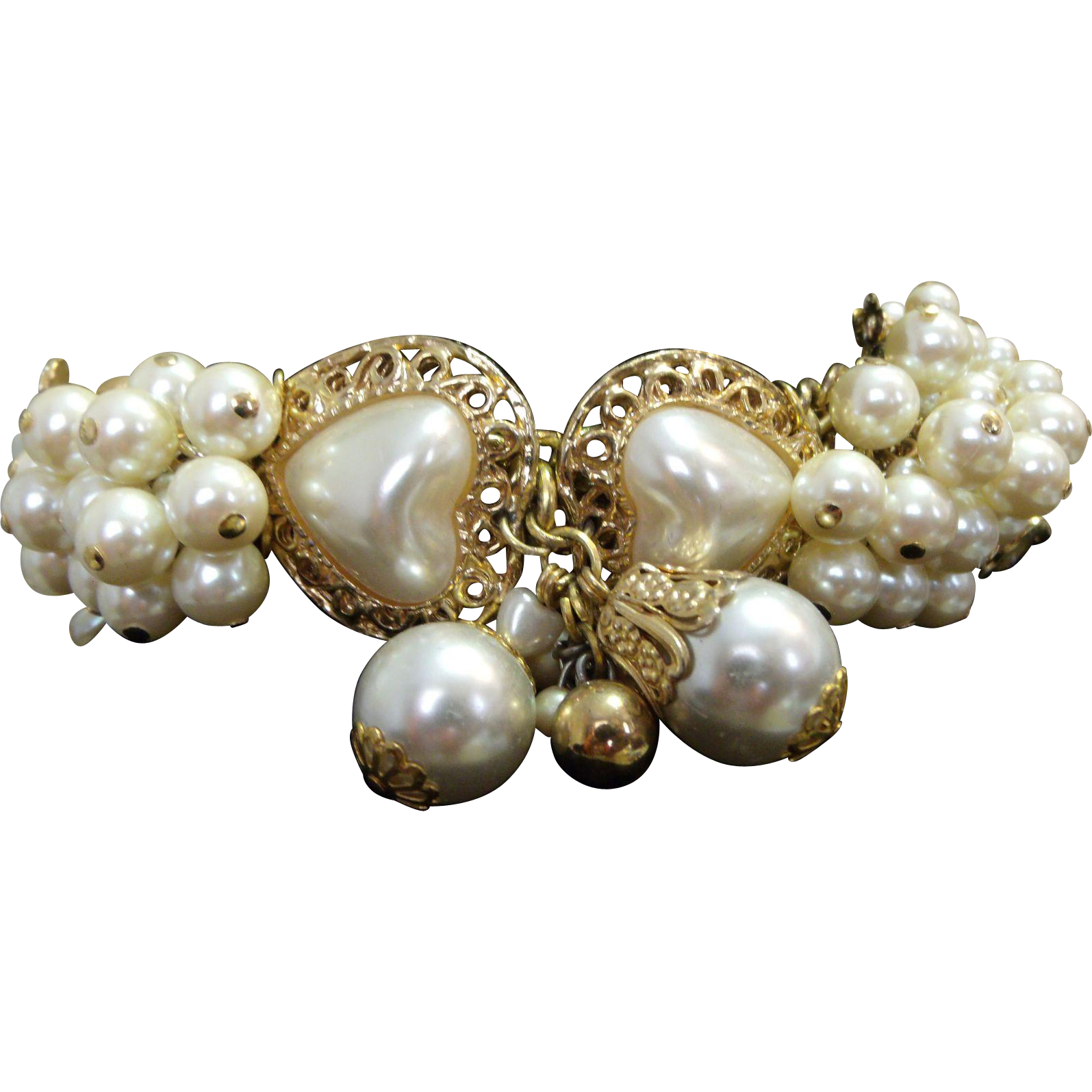 Charm-ing & Chunky Bracelet Gold (tone) & Pearls (Faux) Assemblage