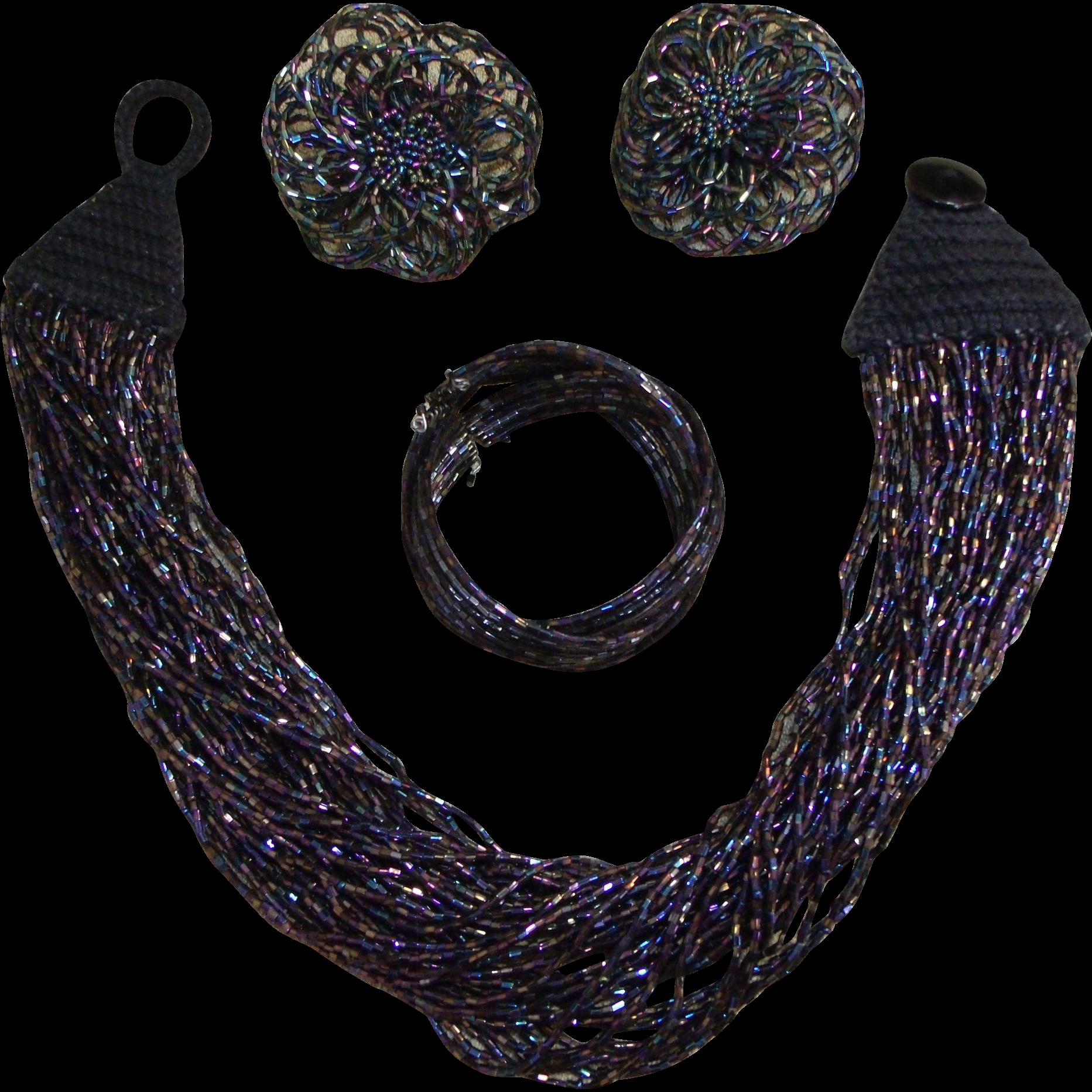 Iridescnet Carnival Glass Beaded Multi-Strand Necklace w/Earrings & Wrap Bracelet