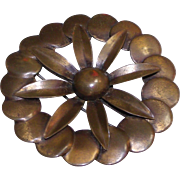 Modernist Copper Flower Brooch Rare Marked Kirschenbaum N.Y.