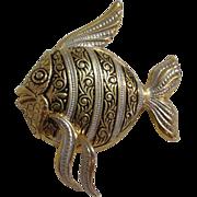 Fantastic Fish Pin / Brooch Gold Tone w/ Black & Silver Enamel
