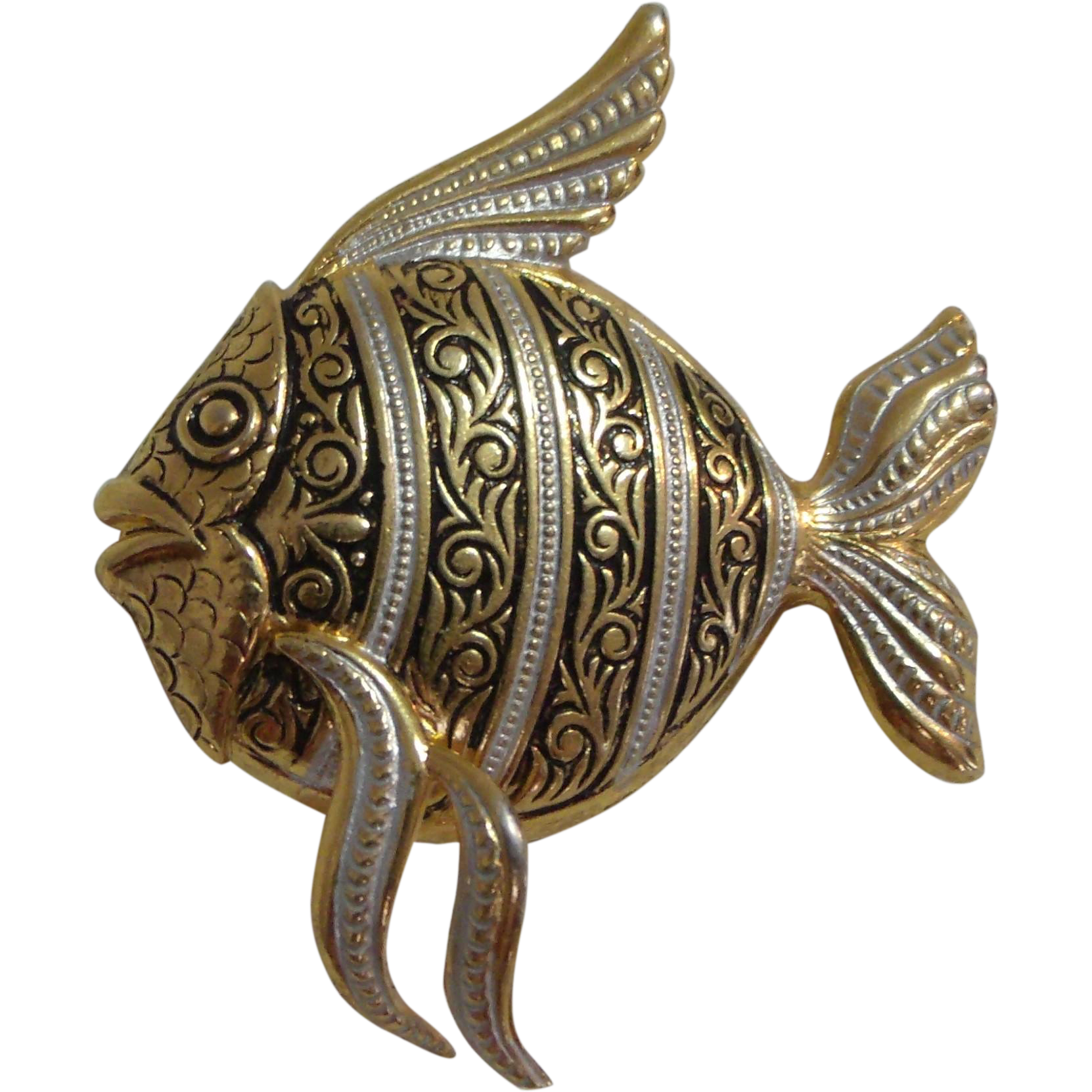 Fantastic Fish Pin / Brooch Gold Tone w/ Black & Silver Enamel