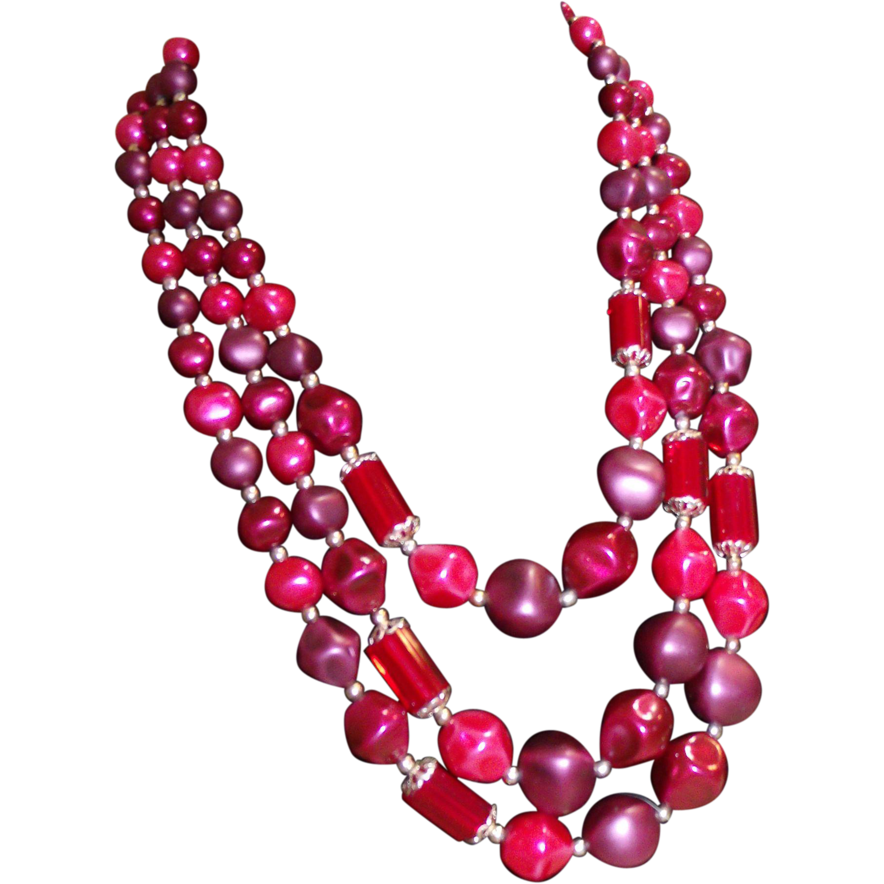 Ravishing Reds Multi Strand Lucite & Glass Beaded Necklace