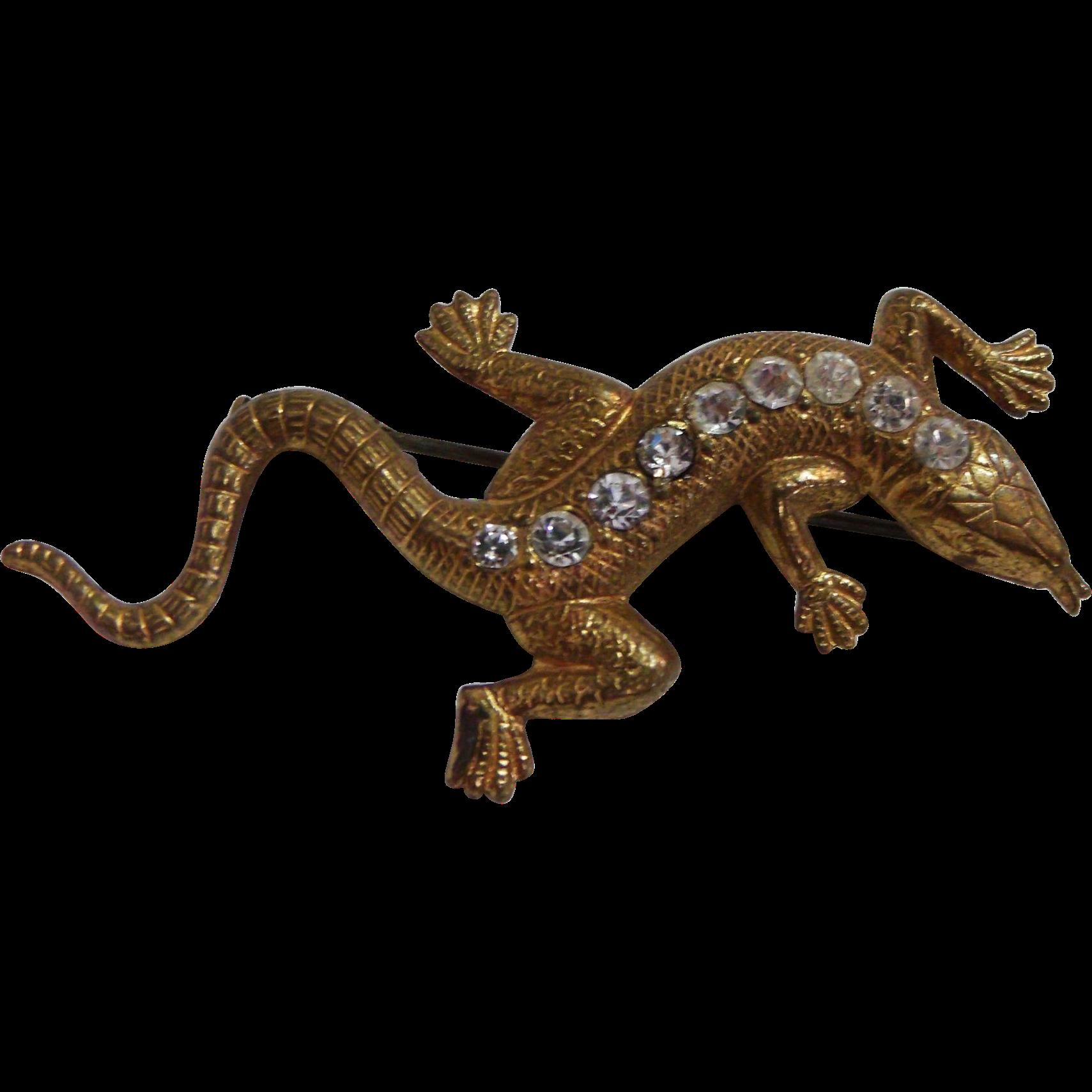 Vintage Gold tone Lizard Pin w/ Rhinestones Trombone clasp