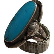 Turquoise & Silver Ring Marked MEX925