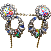 Multi-color Murano Millefiori Glass Beads / Cabochon Earrings Mosaic Convertible Clip Earrings Runway