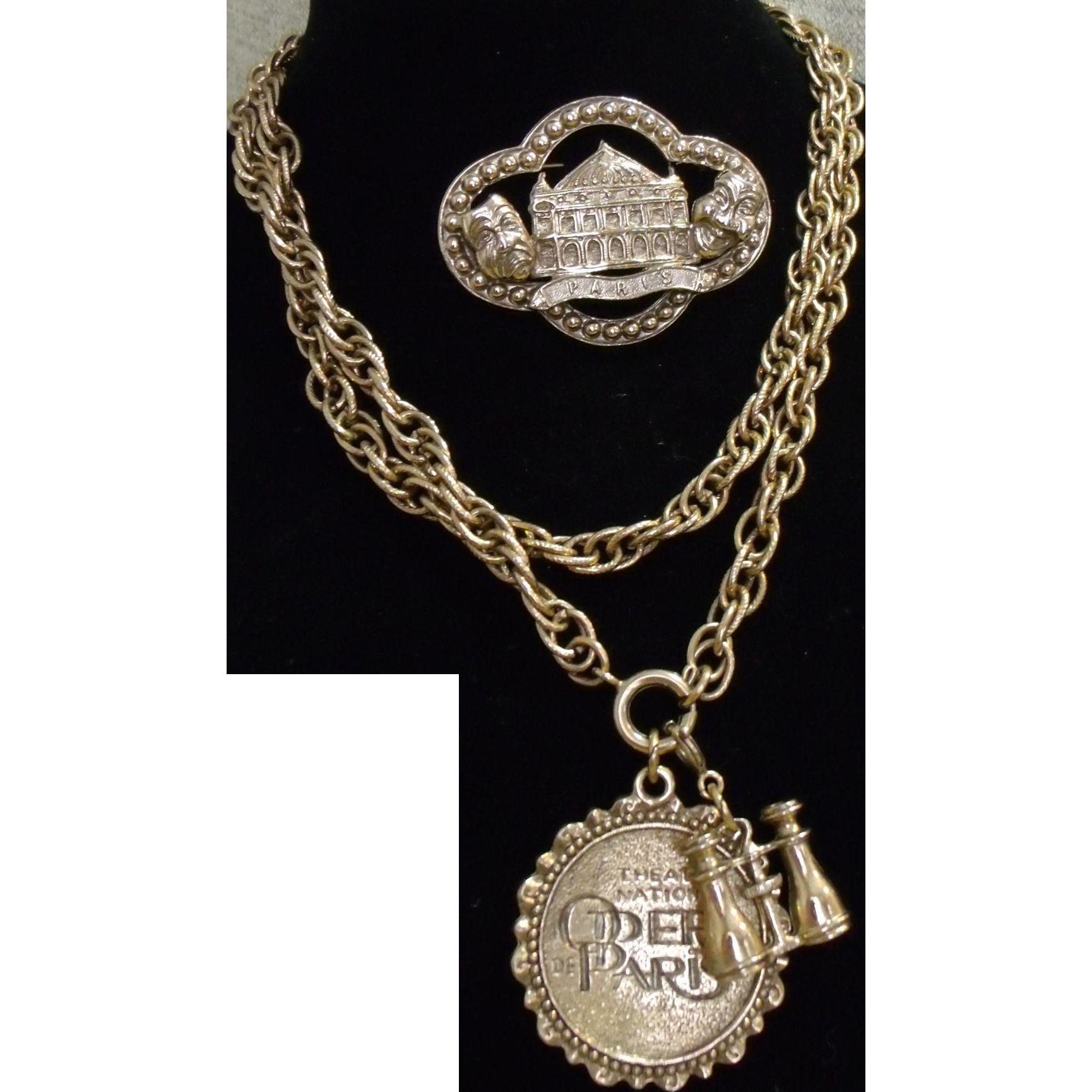 Souvenir Theatre National Opera De Paris Necklace & Pin Gold Tone