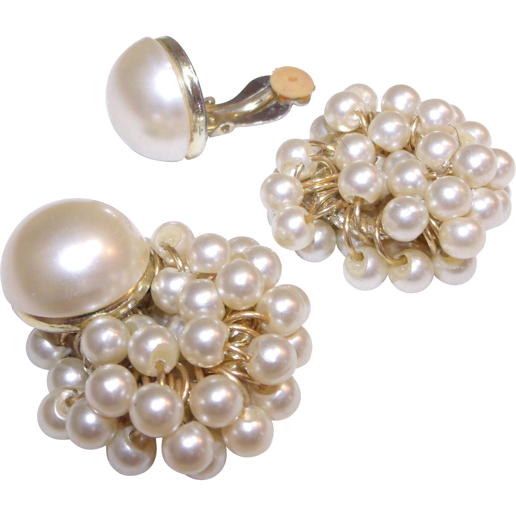 Convertible Faux Pearl Clip Earrings w/without cluster dangles