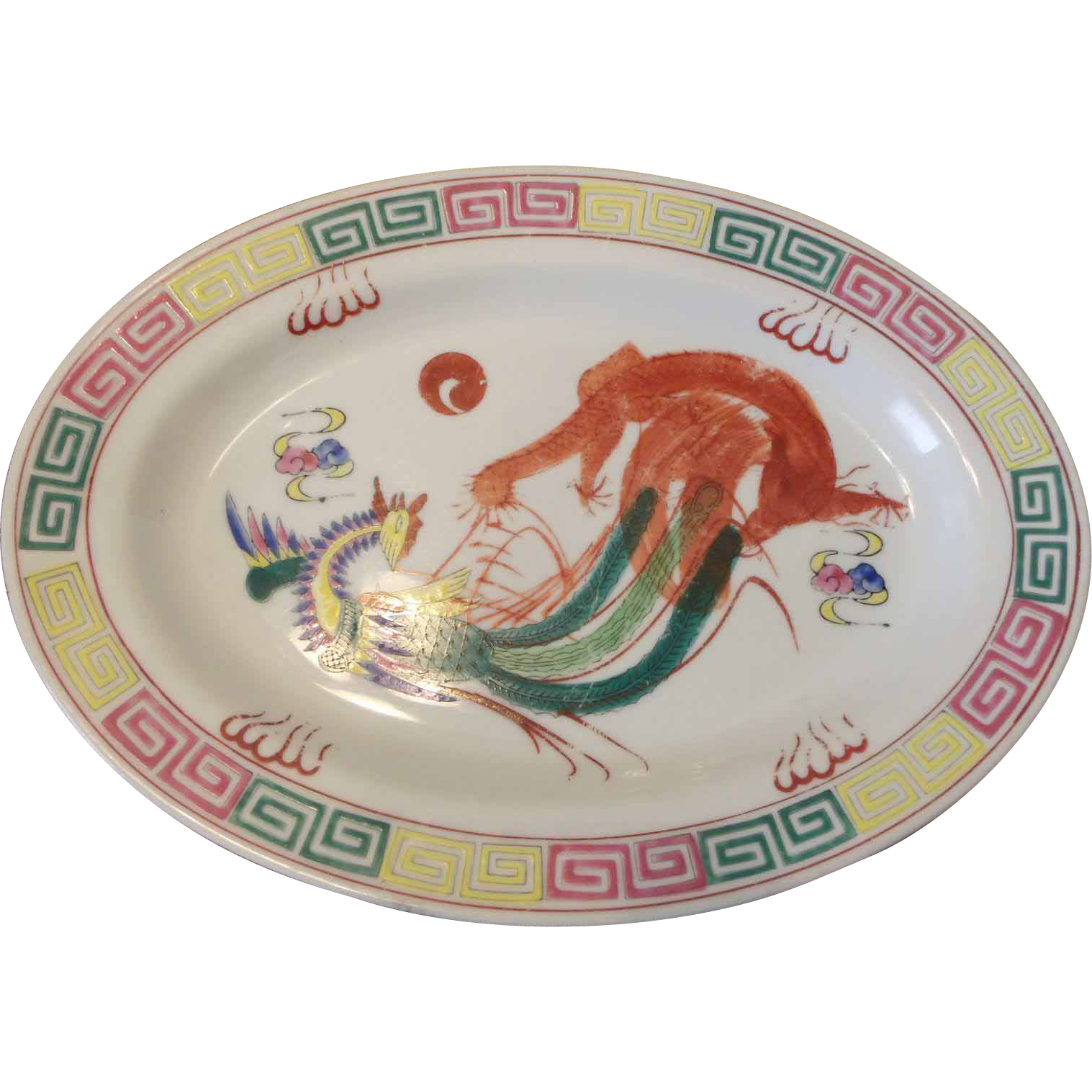 Colorful Chinese Platter /Grill Plate Phoenix & Bats