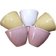 Speckled California Pottery Custard/Dessert Cups Pink White Yellow