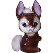 Adorable Figural Rabbit Bank w/ Real Fur - Ceramic figurine