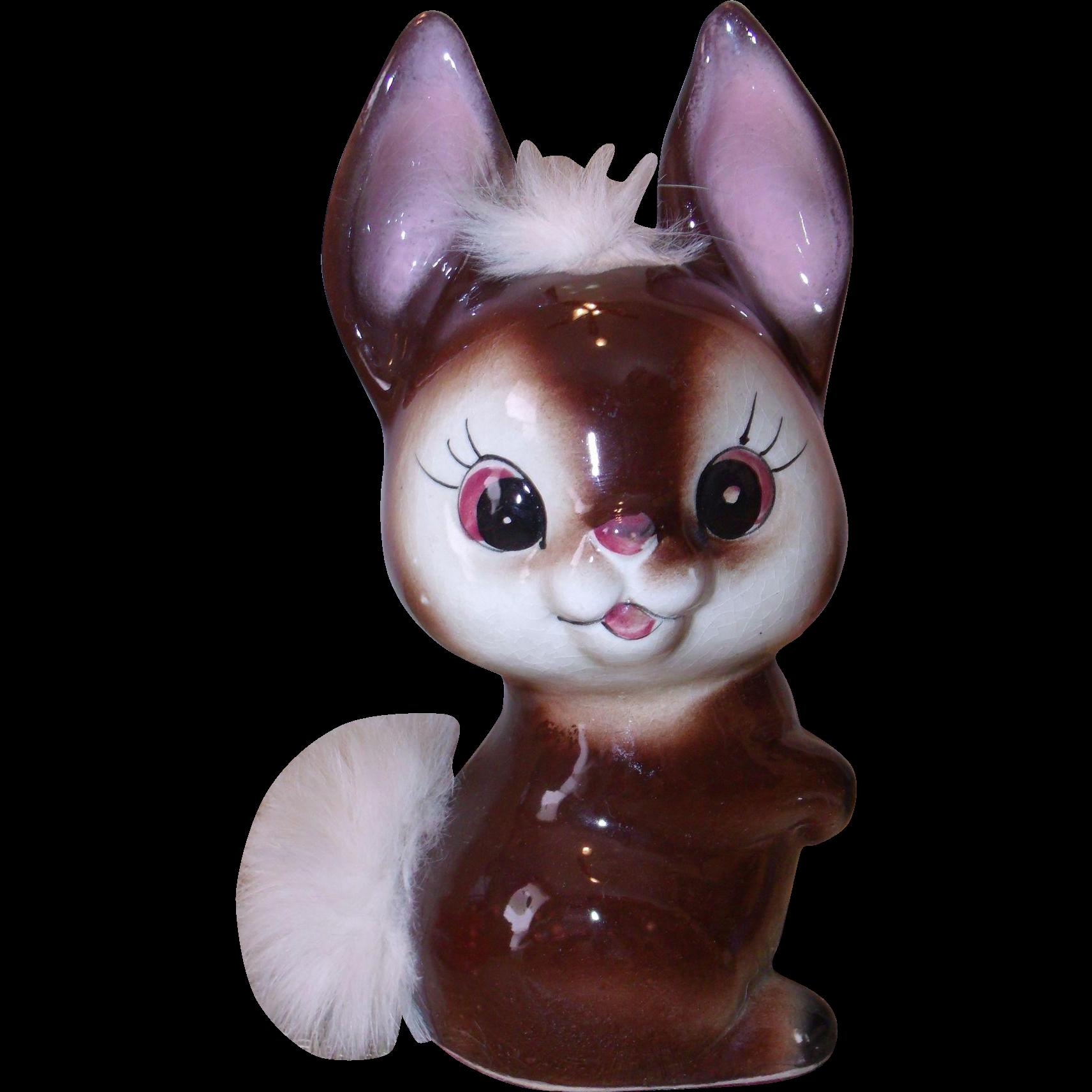 Adorable Figural Rabbit Bank w/ Real Fur - Ceramic figurine