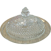 Indiana Diamond Point Oval Butter Dish with Domed Lid