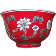 Rare Bright Red Enameled Porcelain Rice bowl Famille Rose