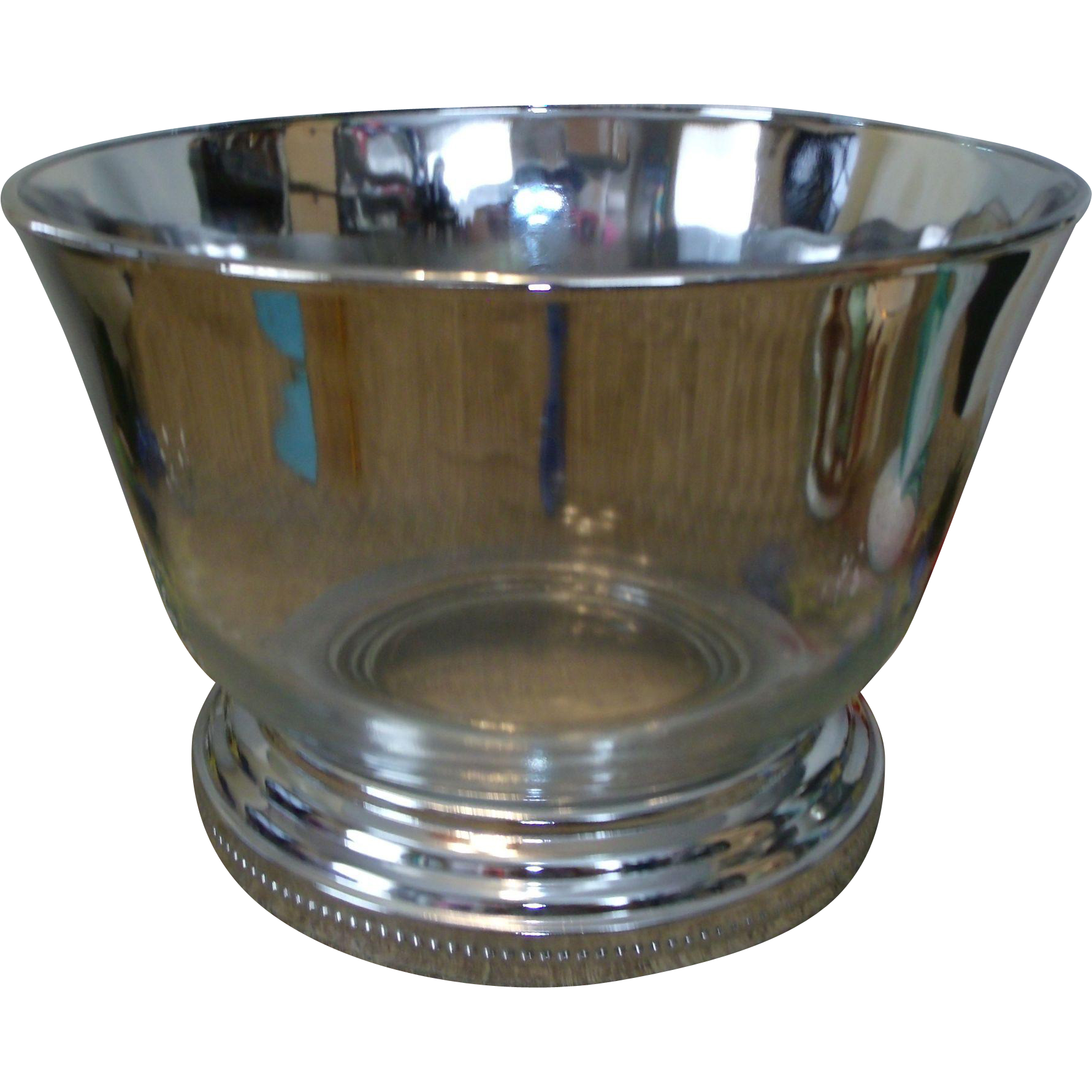 Silver Lustre / Fade Large Glass Bowl w/Chrome Base Mad Men