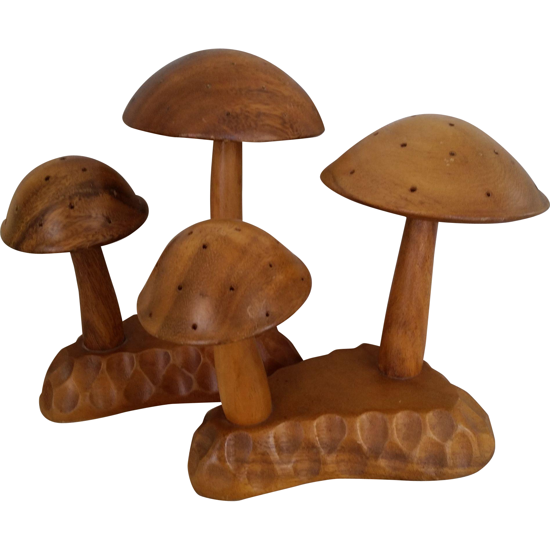 Carved Retro Mushrooms Leilani Monkey Pod Wood Hors d'oeuvre Server / Toothpick Holder