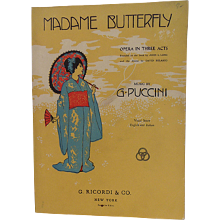 Madame Butterfly Opera in three Act Book 1907 copy 266 pgs G. Puccini Printed by G. Ricordi