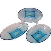 "3 Hazel Atlas Capri Colonial / Colony Blue 8"" Oval Glass Bowls Turquoise"