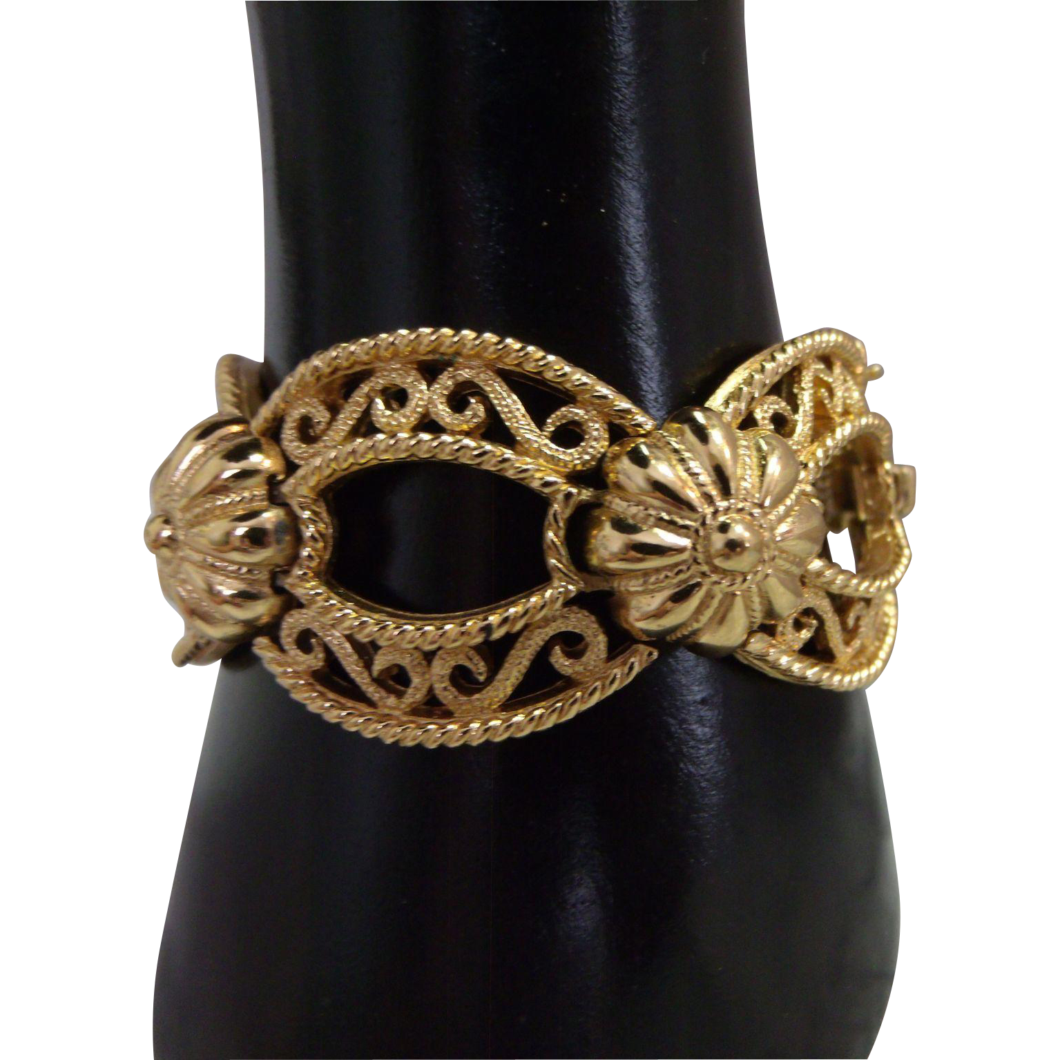 Signed Crown Trifari Bracelet Gold tone Filigree links & safety chain