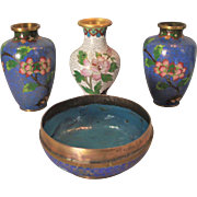 4 piece Cloisonne Collection Vintage Asian Bowls & Vase All Miniature & Oh So Pretty! Home Decor Display