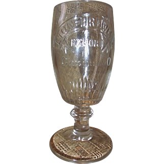 Vintage Rare Beer Glass Lion Brewery Cincinnati Ohio Beer Goblet Pre-prohibition Windisch-Muhlhauser Brewing
