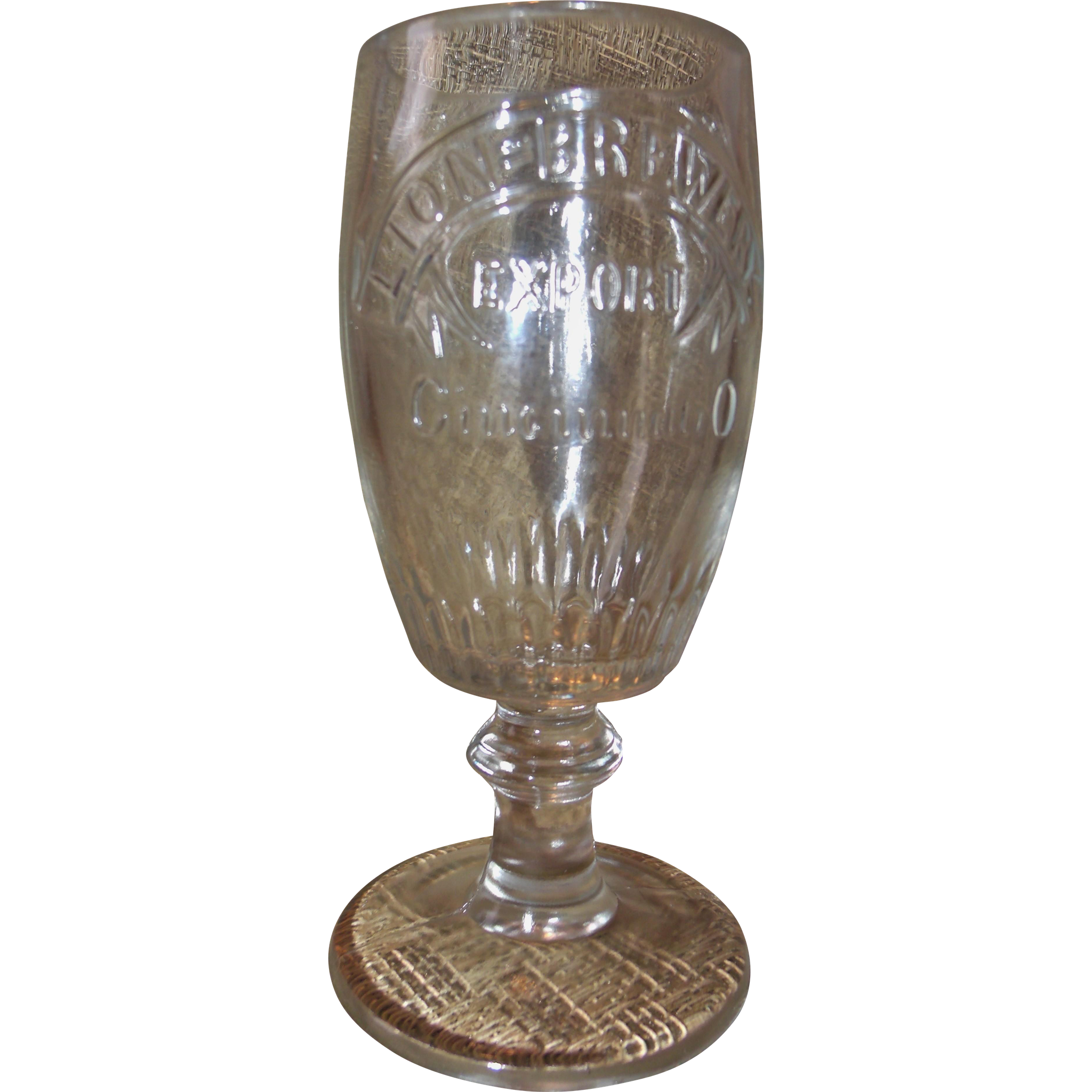 Vintage Rare Beer Glass Lion Brewery Cincinnati Ohio Beer Goblet Pre-prohibition Windisch-Muhlhauser Brewing