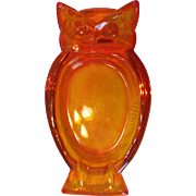 Orange / Persimmon / Amberina Viking Glass OWL Ashtray Retro Groovy