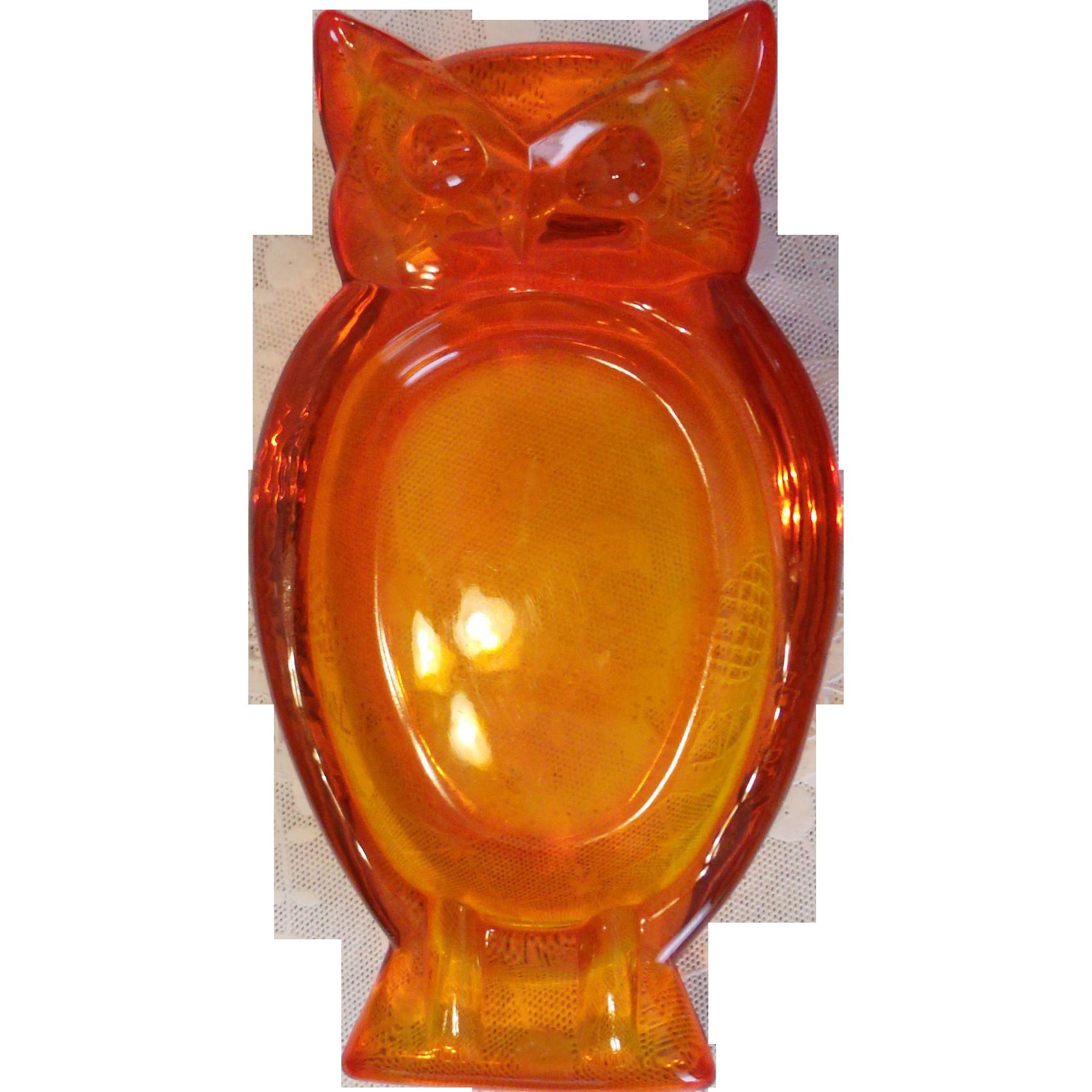Orange / Persimmon / Amberina Viking Glass OWL Ashtray Retro Groovy