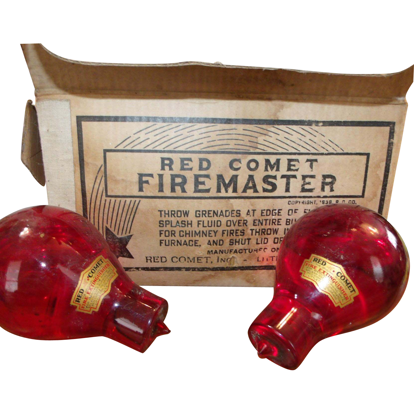 3 Red Comet Firemaster Grenades in Original Box 1938 Fire Extinguisher Red Glass