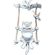 Adorable Cat on Swing Pin / Brooch by Designer JJ Jonette Jewelry