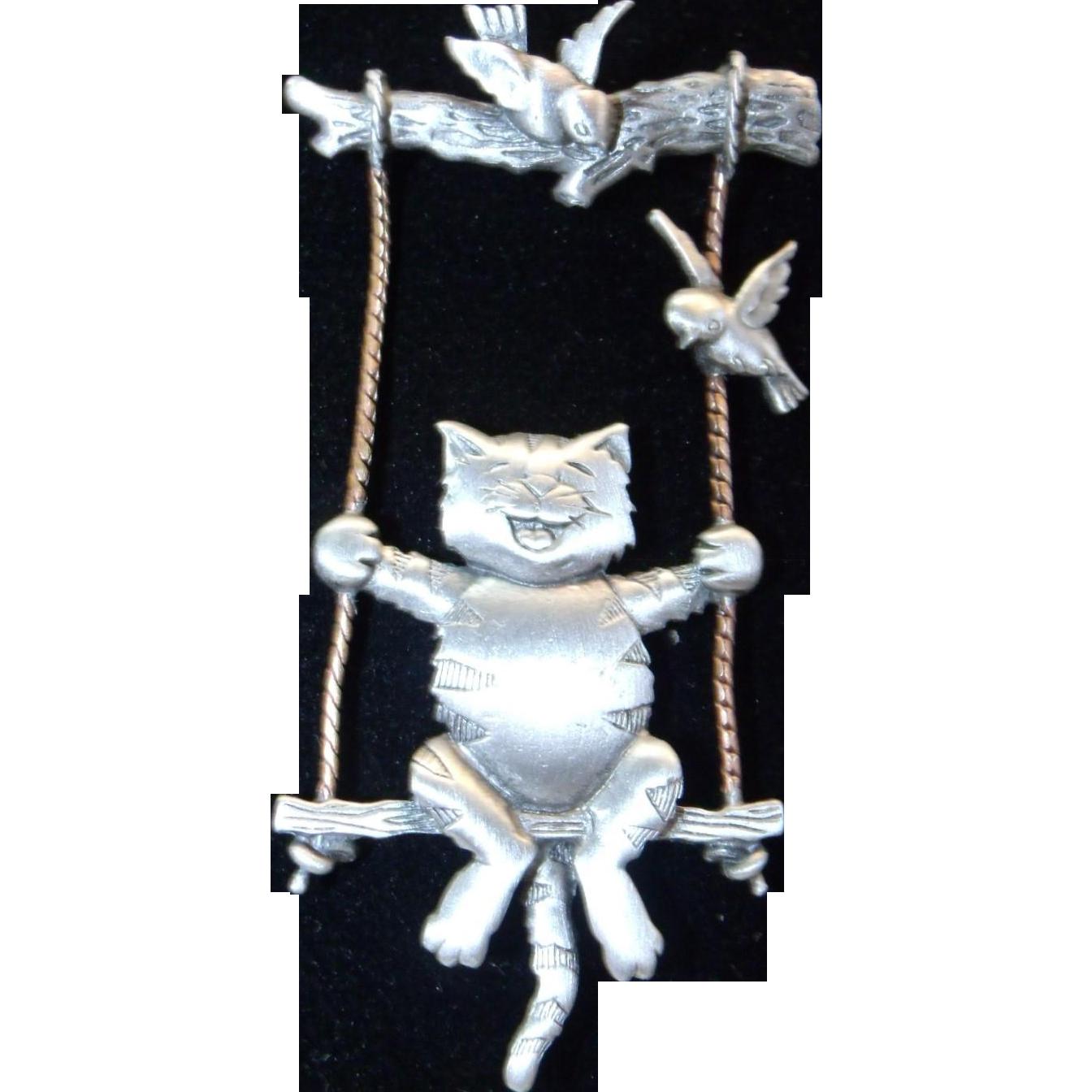 Adorable Cat on Swing Pin / Brooch by Designer JJ Jonette Jewelry