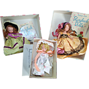 3 Vintage Nancy Ann Dolls w/ Booklets & Boxes Collector's Lot Vintage Doll